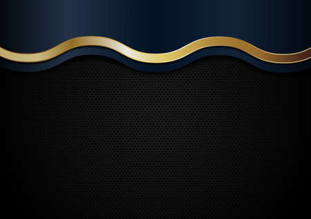 Abstract blue and golden wave line stripes on black background. Luxury style. Vector illustration