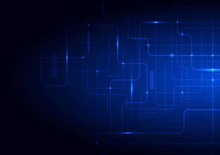 Abstract technology futuristic concept glowing blue lines and lighting on dark background. Vector illustration