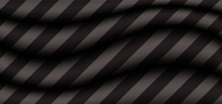 Abstract background 3D gray wave with diagonal black stripes pattern. Vector illustration