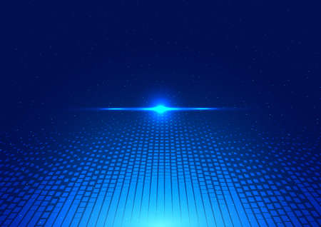 Abstract technology futuristic concept glowing blue lines and lighting perspective on dark background. Vector illustration Illusztráció