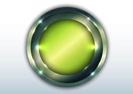 3D green metallic shiny circle overlapping with lighting isolated on white space background. Vector illustration 向量圖像