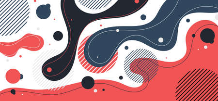 Abstract background liquid organic forms dynamic waves and circles, lines on white background. Vector illustration