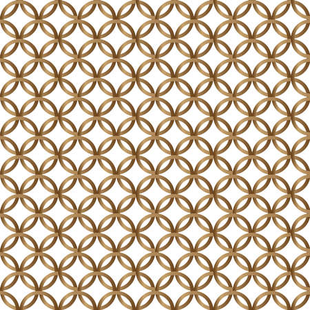 Gold geometric circle seamless pattern on white background. Vector illustration