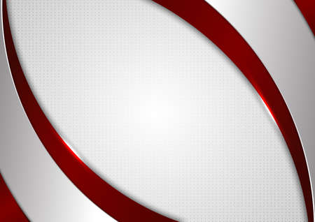 Abstract template red and gray curve on square pattern white background. Technology concept. Vector illustration