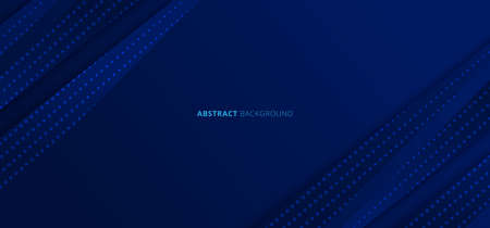 Abstract blue gradient diagonal stripes lines with dots pattern on dark blue background. Vector illustration