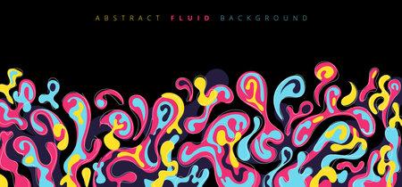 Abstract fluid or liquid colorful splash on black background. Vector illustration