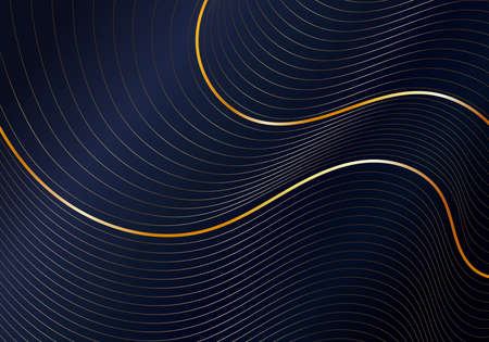 Abstract shiny gold wave curved lines pattern on dark blue background luxury style. Vector illustration