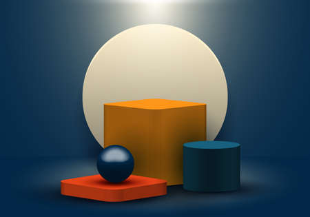 3D realistic geometric shapes blue, yellow, red color product shelf standing backdrop with circle blank pedestal podium display on dark blue background with lighting. Stage floor for your graphic. Studio room showcase of modern interior design. Vector illustration.