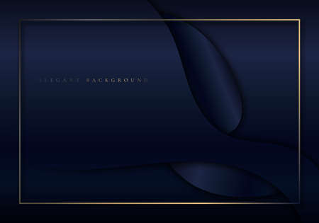 Abstract elegant dark blue shiny curved shape background with golden border frame luxury style. Vector illustration