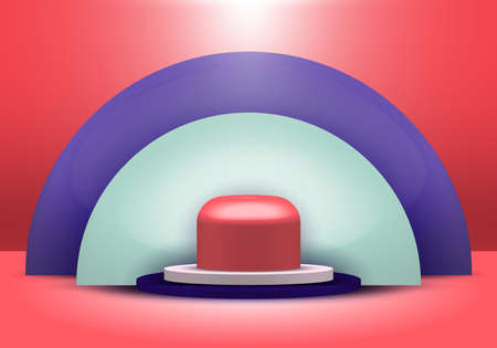 3D realistic geometric shapes blue, white, red color product shelf standing with semicircle blank backdrop pedestal podium display on red background with lighting. Stage floor for your graphic. Studio room showcase of modern interior design. Vector illustration.