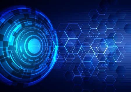 Abstract technology futuristic transfer digital data network to center concept. Blue circle internet tech background. Vector illustration Ilustrace