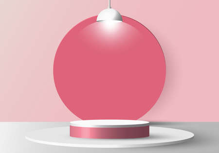 3D realistic empty white round pedestal mockup with lamp on soft pink background and circle backdrop. Winner podium stage for award ceremony concept. Vector illustration