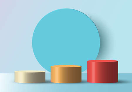 3D realistic white pedestal with black border and circle backdrop for product display. Square podium or platform in studio lighting on gray background. Museum showcase concept. Vector illustration.