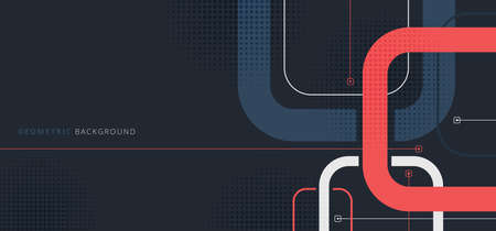 Banner web template design rounded squares geometric blue and red on black background with space for your text. Vector illustration Ilustração Vetorial