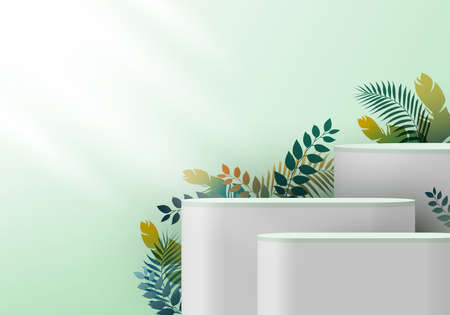 3D realistic white pedestal on green mint backdrop for product display with tropical leaves. Platform in studio lighting background. Museum showcase concept. You can use for show cosmetic products. Vector illustration