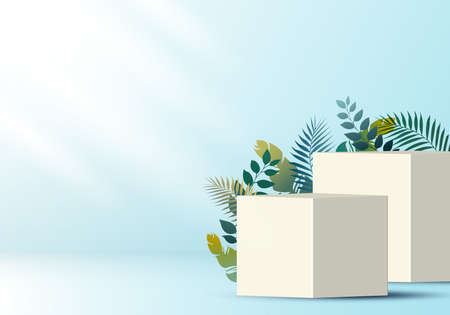 3D realistic white cube on soft blue backdrop for product display with tropical leaves decoration. Platform in studio lighting background. Museum showcase concept. You can use for show cosmetic products. Vector illustration Illustration