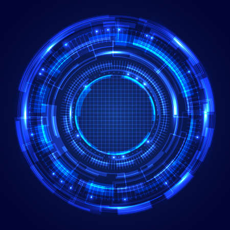 Abstract blue circles HUD screen system technology futuristic innovation with lighting effect on dark background. Vector illustration