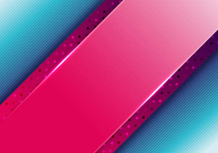 Abstract business presentation template pink diagonal stripes with polka dot pattern on blue background. Vector illustration