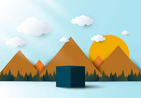 3D realistic blue cube shaped pedestal podium with landscape nature mountain, cloud and sun backdrop paper cut style on blue sky background. Vector illustration