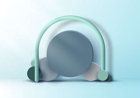 3D realistic set circles geometric group form backdrop mockup on soft blue background with lighting. Vector illustration