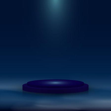 3D realistic blue pedestal with lighting and mist on dark blue background. Stage floor for winner award, presentation, concert, etc.  Vector illustration