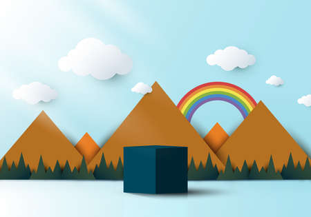 3D realistic blue cube shaped pedestal podium with landscape nature mountain, rainbow, cloud and sun backdrop paper cut style on blue sky background. Vector illustration Illustration