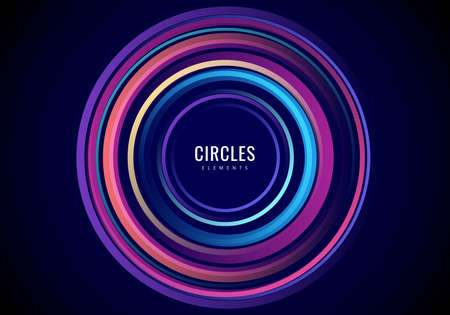 Abstract colorful radial circles concentric on black background. Vector illustration. Vector illustration