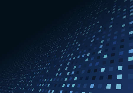 Abstract technology digital data blue square pixel pattern perspective background. Vector illustration