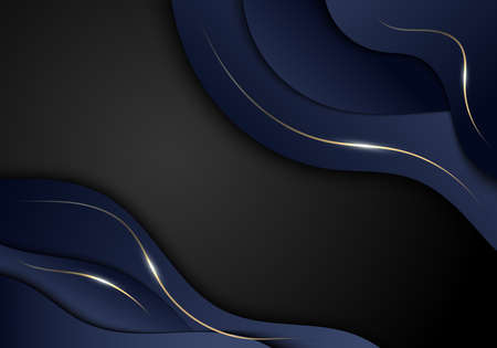 Abstract elegant dark blue color wave shape and gold lines with lighting on black background luxury style. Vector illustration