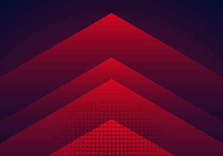 Modern abstract background red and blue gradient arrow shape overlapping layer with halftone effect. Vector illustration