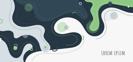 Abstract trendy organic shape composition amorphous forms and lines with circles geometric elements on white background. Vector illustration