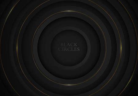 Elegant modern black circles background with golden line and lighting luxury style. Vector illustration Illustration