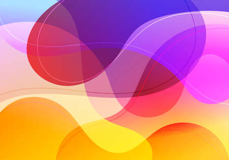 Abstract fluid gradient shape vibrant color with wave lines background. Vector illustration