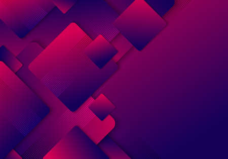 Abstract blue and pink gradient squares rounded layered pattern background with space for your text. Vector illustration Illustration