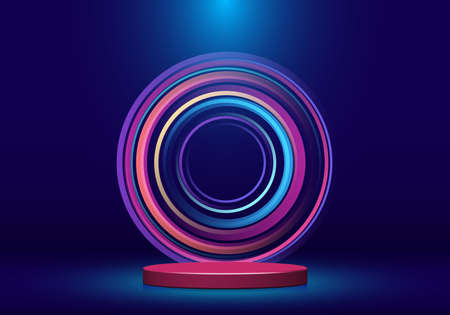 3D realistic shiny pink cylinder pedestal shape with spotlight on blue studio room background with colorful neon lighting circles backdrop. Stage display podium for product presentation advertising. Vector illustration Illustration