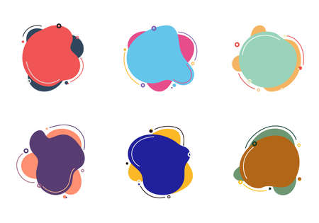 Set of abstract colorful fluid or liquid elements with circles and lines isolated on white background flat design. Vector illustration Illustration