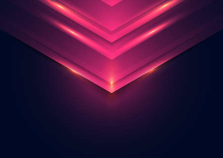 Abstract technology concept pink lights triangle on dark background with space for you text. Vector illustration Illustration