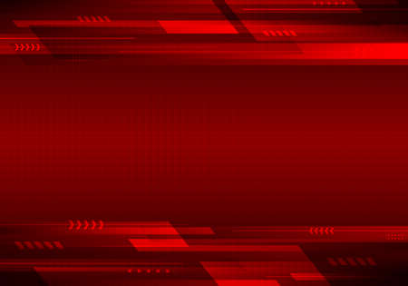 Abstract template technology futuristic geometric stripes lines on red background. Vector illustration Illustration