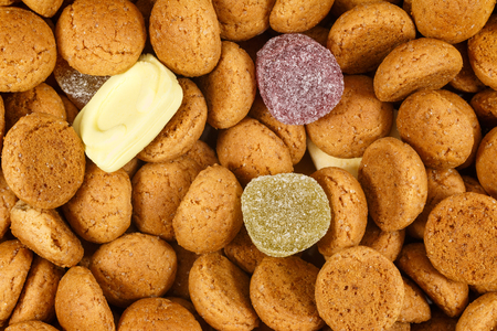 '5 december': Close up pepernoten and sweets. Also called strooigoed for Sinterklaas celebration on 5 december. Event in Holland, Netherlands and Belgium.