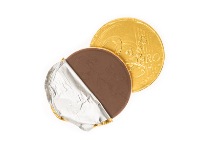 5 december: Fake two euro coin of chocolate for Sinterklaas. Event in Holland, Netherlands and Belgium on 5 december. Stock Photo