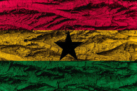 ghanese: Ghana, Ghanese national flag painted on wooden bark of tree. Painting is rough and colorful.