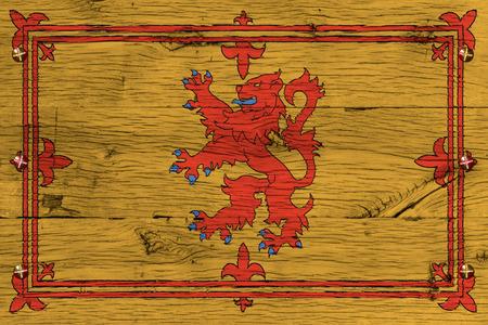 Royal Standard of Scotland flag Painting on old oak wood