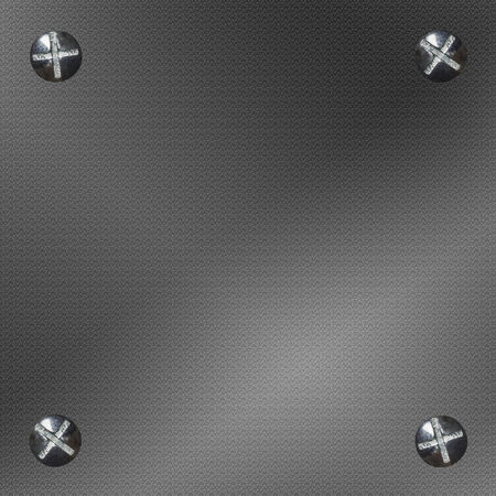 room for your text: Metal background with four bolts or screws. Room for your text, copy space Stock Photo