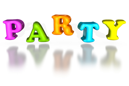 word balloon: Balloon inflated 3d letters party. Colorful word sign in 3d isolated on white background. Stock Photo