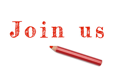 join the team: Join us sketch text written red pencil white background. Business concept employment join team.