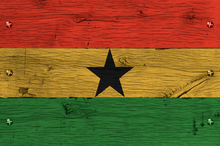 ghanese: Ghana, Ghanese national flag painted on old oak wood. Painting is colorful on planks of train carriage. Fastened by screws or bolts.