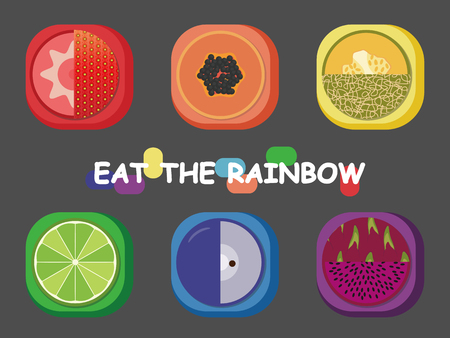 Eat the rainbow fruit to keep health and happy life!
