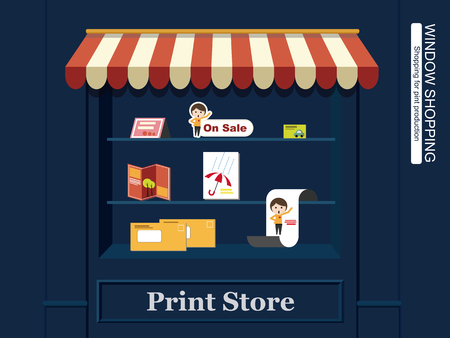 window display: Window Display of Print Productions. Pamphlet, cards, envelope, book, DM, stand ... etc. Illustration