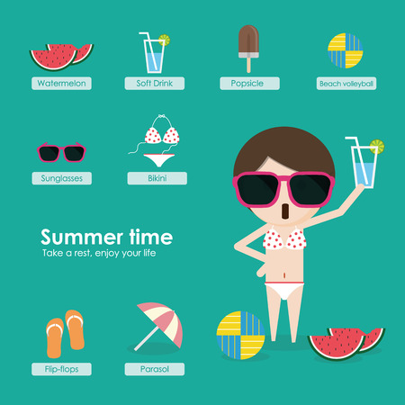 Its near Summer time, wear on your sunglasses, flip-flops, bikini and have a iced soft drink or watermelon to enjoy your wonderful life in summer.