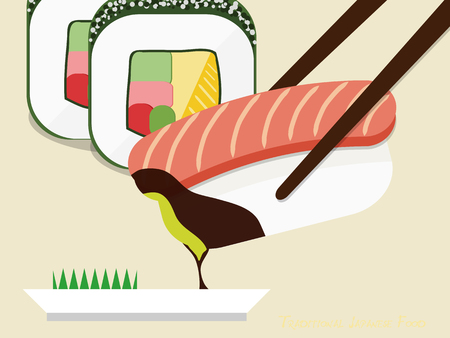 Traditional Japanese food consisting of cooked vinegared rice combined with other ingredients.